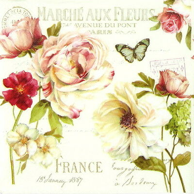4x Marche aux Fleurs Paper Napkins for Decoupage Decopatch