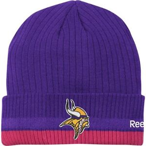 sale retailer cf482 72238 Details about NFL Reebok Minnesota Vikings Breast Cancer Awareness Beanie
