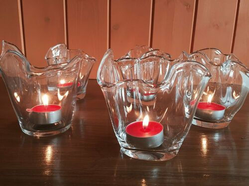 Glass Tea Light Candle Holders set of 2 Choice of styles with tea light