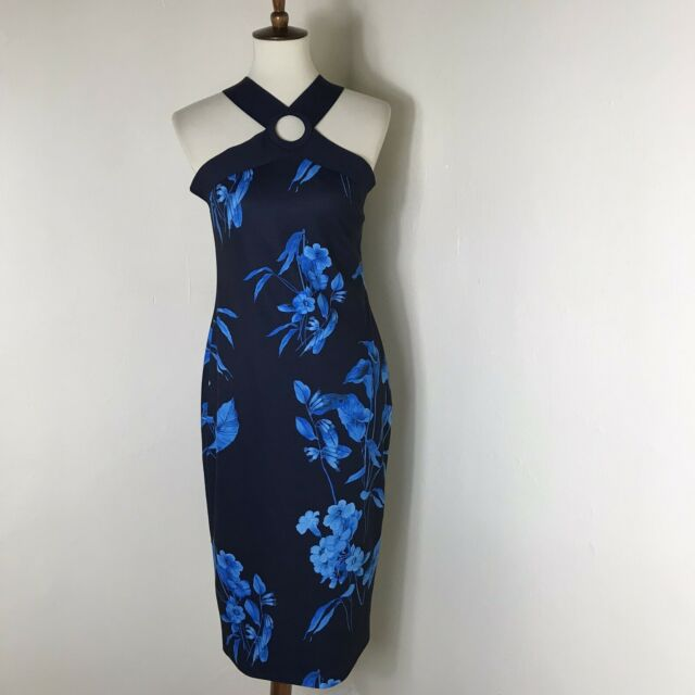 Ted Baker Cosiima Floral Sheath Dress Size 4 US 12 Midi Blue NWT