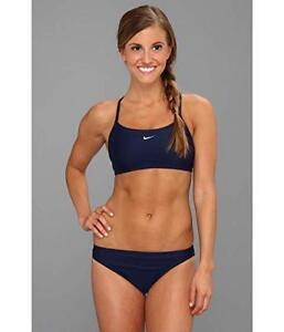 7b04de9dbe Nike Womens Midnight Navy Core Solid Sport Top Two Piece Swimsuit Sz ...