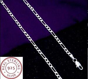 Chaine-Homme-Femme-Argent-Sterling-Style-Figaro-Fine-Mi-longue-45cm-2mm-Tendance