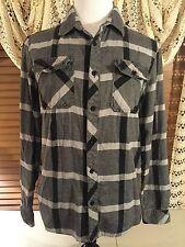 Mens O'NEILL M Medium LS Twin Pocket Black & Gray Panes Flannel Flip Cuff Shirt