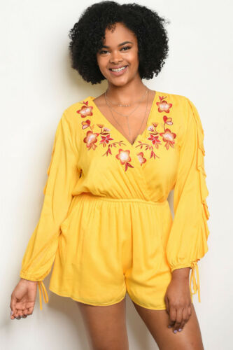 Women/'s Plus Size Ruffled Yellow Embroidered Accent Floral Romper 3XL NWT