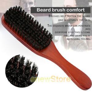 Men Boar Hair Bristle Beard Mustache Brush Military Hard Round Wood Handle Comb