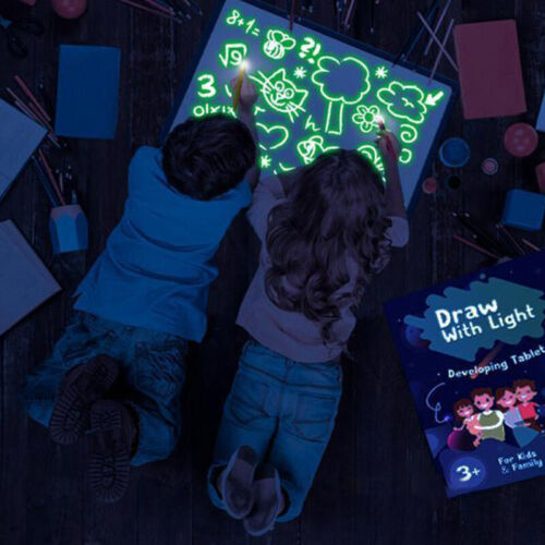 A4 Draw With Light Drawing Board Fun Developing Toy Magic Paint Kids Educational