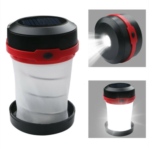 Solar Powered LED Collapsible Lantern Light 3W for Outdoor Hiking Tent Lamp #D