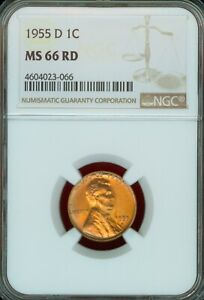 1955 D Lincoln Cent certified MS 66 RD by NGC!