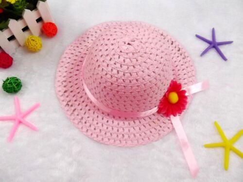 Girls Kids Children Easter Craft Straw Hemp Flower Travel Bucket Cap Sun Hat