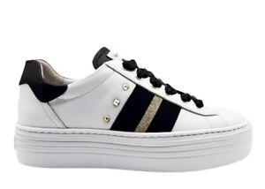 Scarpe-da-donna-Nero-Giardini-13370D-sneakers-bianche-platform-sportive-in-pelle
