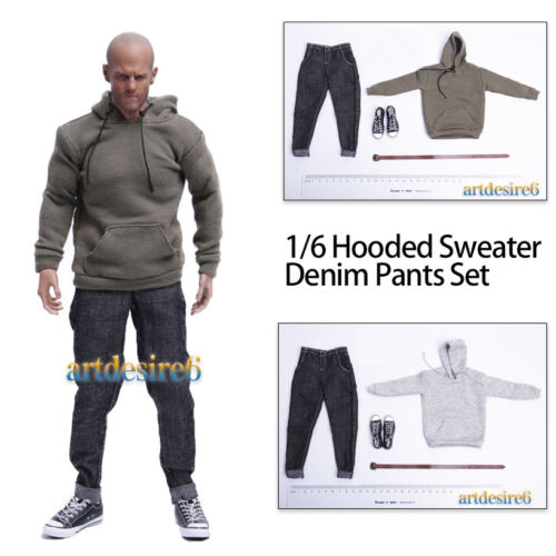 1//6 Soldier Male Pullover Hooded Sweater Denim Pants Set Fit 12/'/' Body Figure