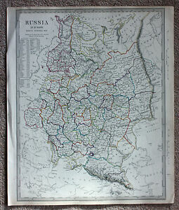 Original antique map RUSSIA IN EUROPE, BALTIC STATES, BLACK SEA ...