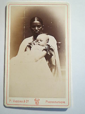 Bombay - Indien - 1879 - Einheimische Frau & kleines Kind - Portrait / CDV