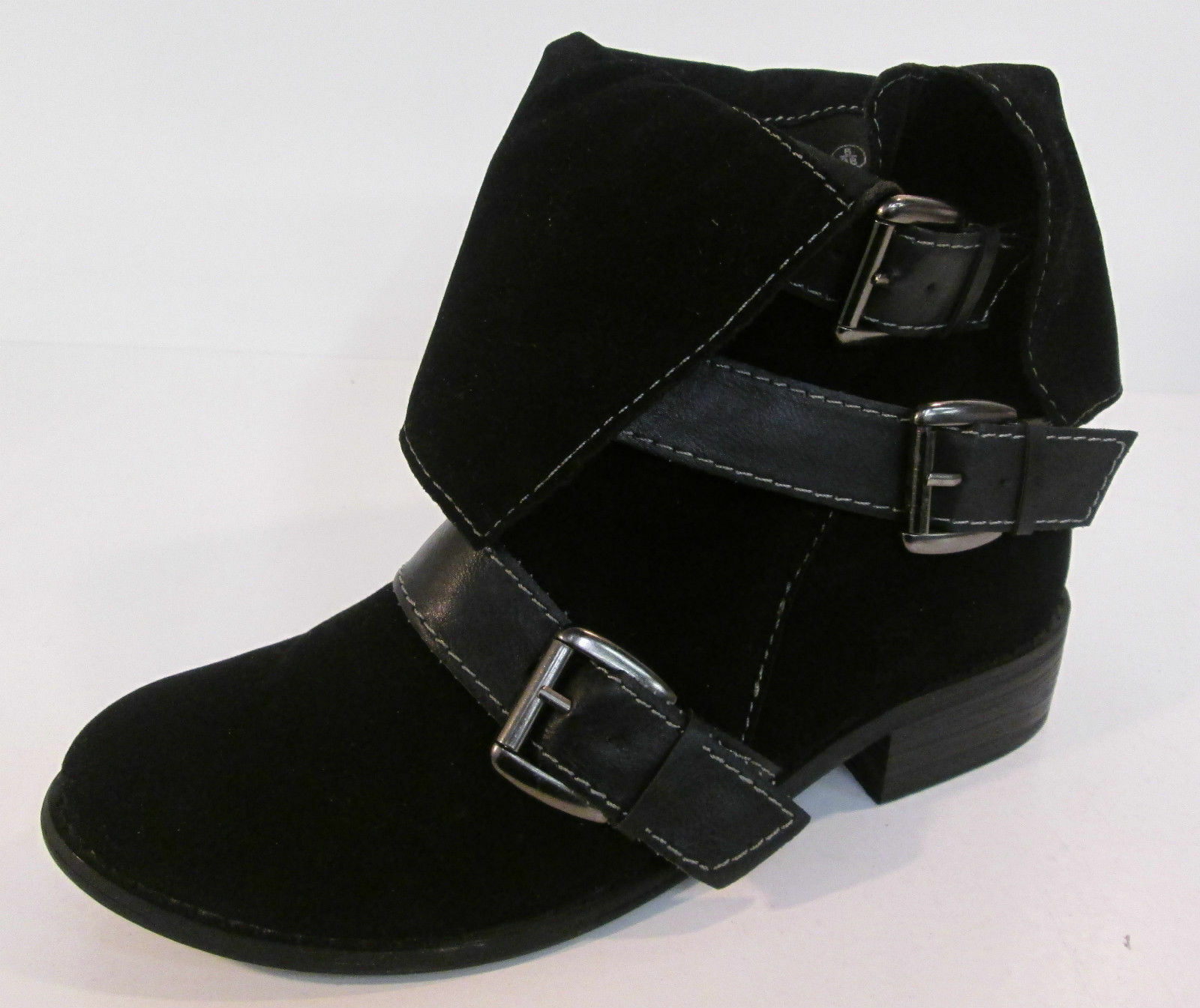 Ladies Spot on Black synthetic Suede Ankle Boots F5535
