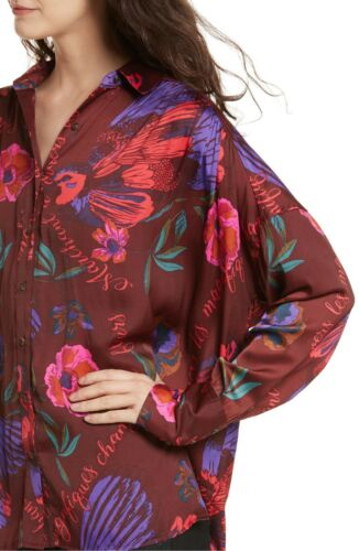 Free People Silky Nights Printed Shirt Wine Floral Size Large ~NWT