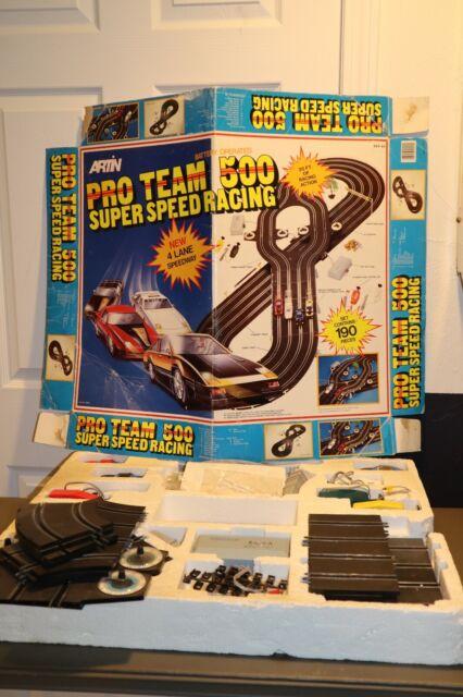 Vintage Artin Pro Team 500 Super Speed Racing Slot Car Raceway 20 Feet of Track