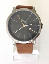 Puma Herren Uhr Liberated braun silber schwarz Leder Datum PU104231005
