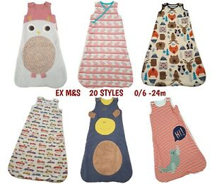 Baby Sleeping Bag Girls Boys 2.1 Tog Cotton Growbag Sleep Safety Blanket EX M+S