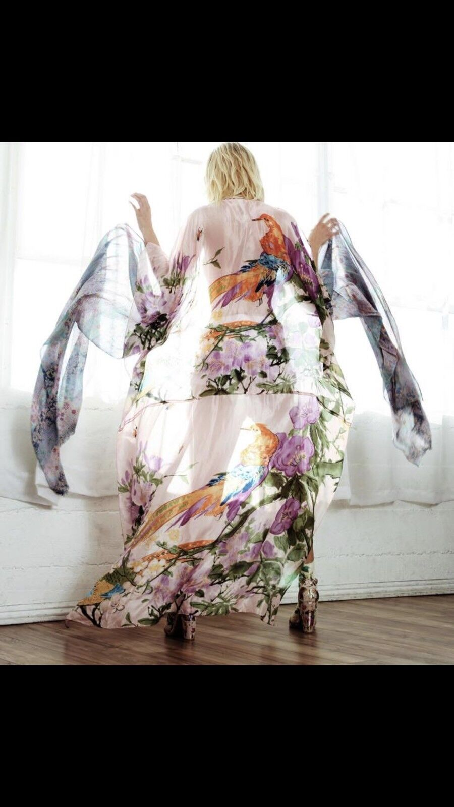 NWT ARATTA Fields Of Happiness  Poncho Maxi Kimono O S Lavender