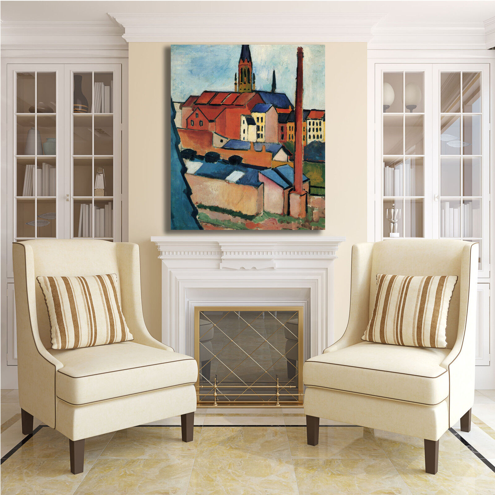 Macke case con un camino quadro design quadro camino stampa tela dipinto telaio arRouge o casa ca6d3c