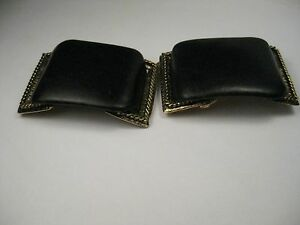 Vintage-Pair-of-Black-Pleather-and-Gold-Tone-Musi-Shoe-Clips-2-25-034-by-1-5-034