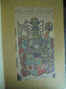 Ausdrucksvoll 3121 Kaemmel Otto Festschrift Zur 800 Jährigen Jubelfeier Des Hauses Wettin 1889 Profitieren Sie Klein