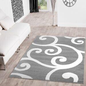 Teppiche Modern Mit Floral Muster In Grau Weiss Creme Kurzflorteppich