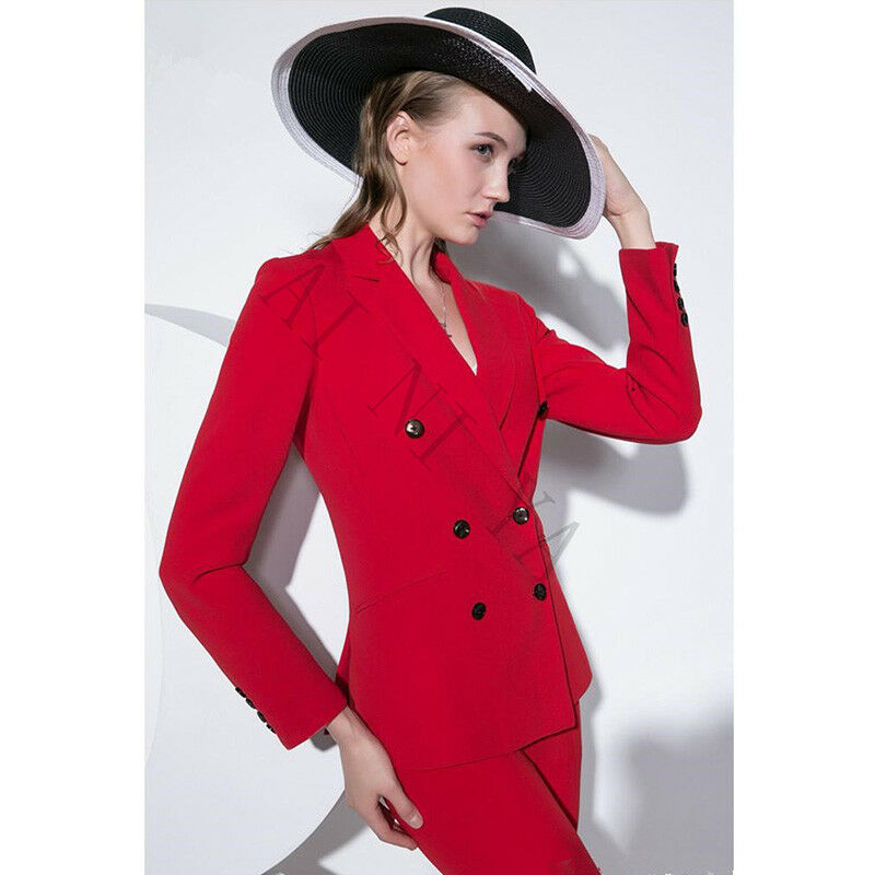 Red Double Breasted Women Business Suits Slim Fit Formal Female Office Uniform