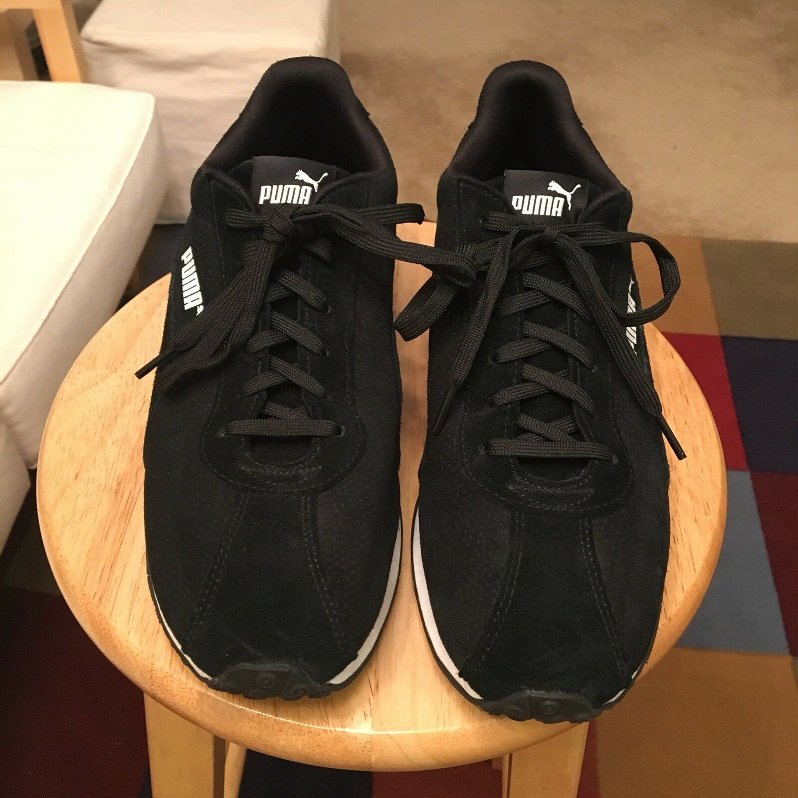 Puma Turin Black/White Trim Men's US12 Suede Athletic Sneakers Shoes