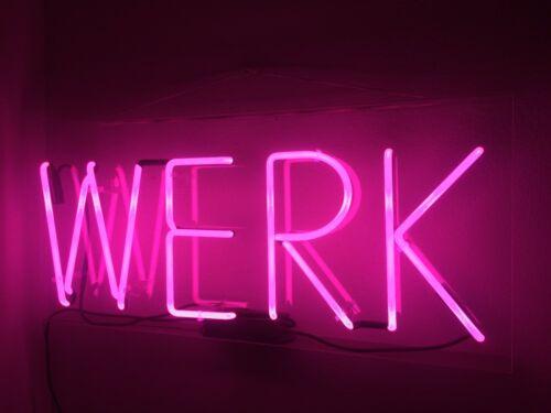 "Werk Bar Pub Acrylic Neon Light Sign 14/"" Lamp Glass Artwork Decor Wall Cave"