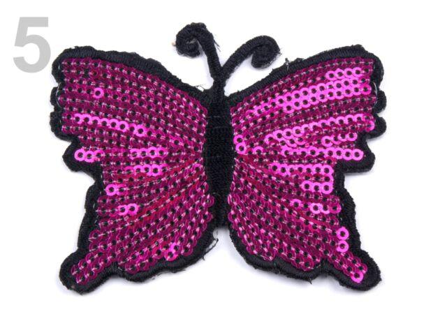 Aufbügler Aufnäher  Schmetterling 8 x 6 cm 80 x 60 m mit Pailletten  Bügelbild