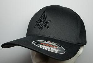 fe8d62a70 Details about Flexfit Mason Hat 3D Puff Embroidery All Black Baseball Cap  Masonic Gears