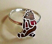 1930's Winnie-the-Pooh 925 Marked, Sterling & Enamel, Pristine Ring (Size-3)