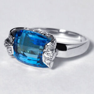 Natural-London-Blue-Topaz-Diamond-Womens-Solitaire-Ring-Solid-14K-White-Gold