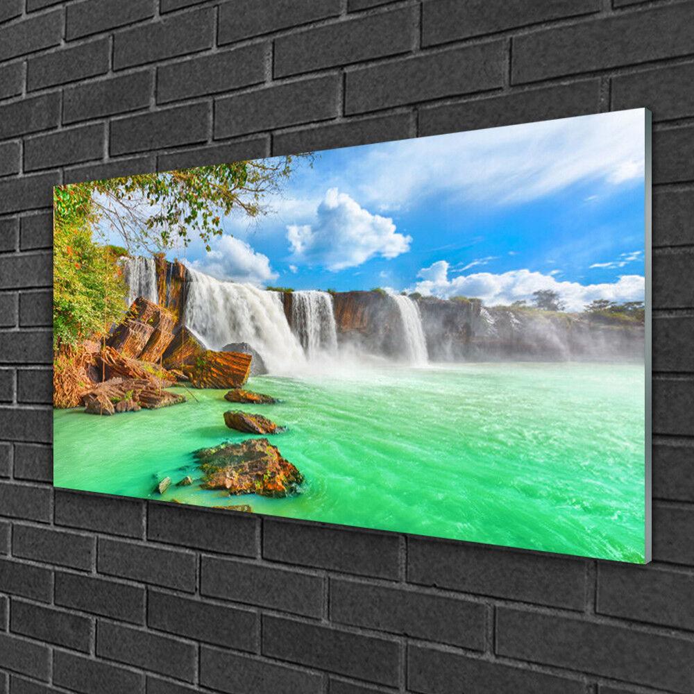 Tableau sur verre Image Impression 100x50 Paysage Chute D'eau Lac