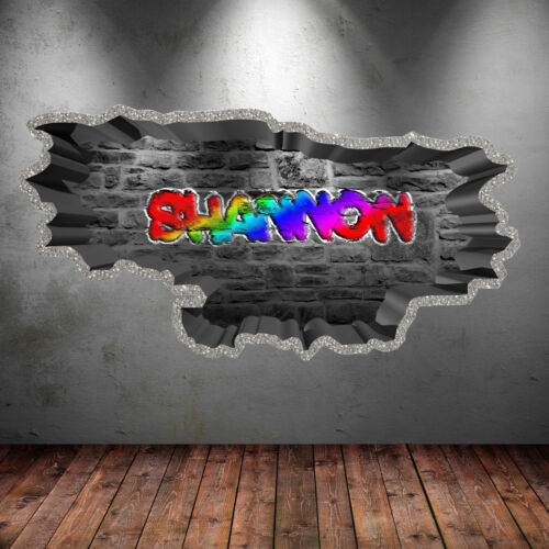 3d Multi-Coloured Personalised Graffiti Name Wall Art Sticker Decal Graphic