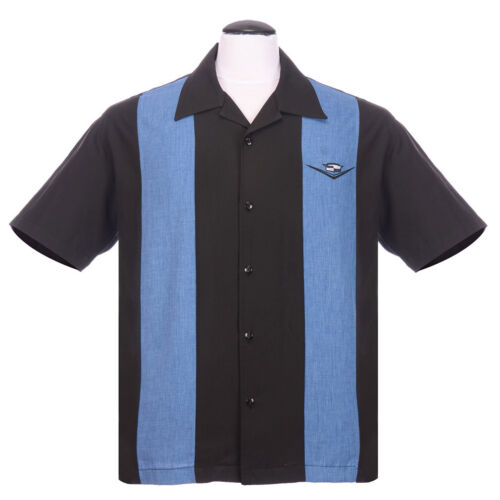 Steady Clothing Vintage Bowling SHIRT-CLASSIC Cruising Blu