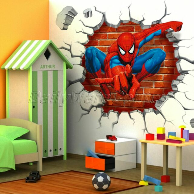 Cool 3D Spiderman Boys Kids Bedroom Wall Sticker Home Decor Mural Children  Decal