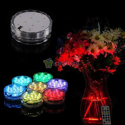 4X 10 LED Submersible Waterproof Wedding Decor Party RGB Light+4 Remote Control