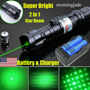 2x 900Miles Green Laser Pointer Rechargeable 532nm Star Beam Lazer 18650+Charger