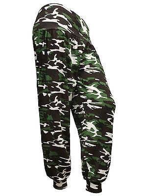 New Ladies 3//4 Camouflage Print Ali Baba Harem Pants Womens Trousers Size S-XXL
