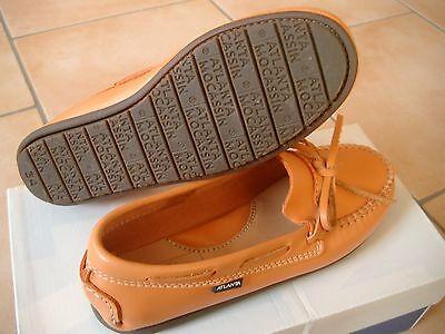 (Z92) Atlanta Mocassin Schuhe Girls Collegeschuhe Lederschuh Logo Aufnäher gr.32
