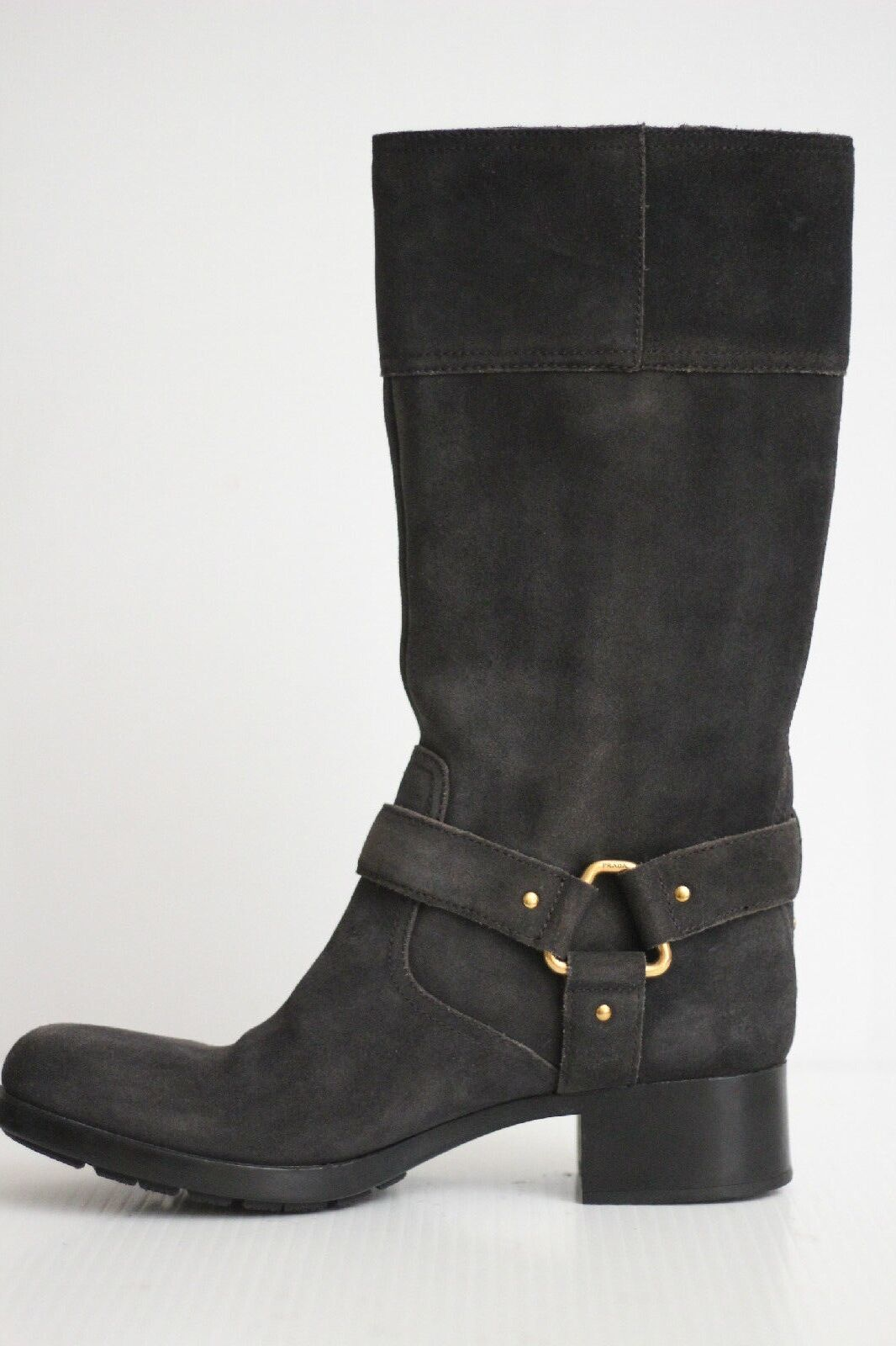 Prada Gray Moto Motorcycle Mid Boot Buckle Harness - Charcoal Gray Prada - Size 8US (Y10) 8788c0