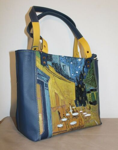 Dames Handgemaakt Van Mode Italië Gogh Echt leer Geel Lichtblauw Tas Yvf76gyb