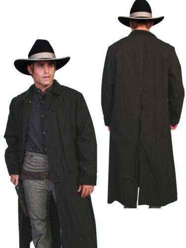 1900s Edwardian Men's Suits and Coats   Scully RangeWear Mens Black 100% Cotton Long Overcoat Duster Coat $101.99 AT vintagedancer.com