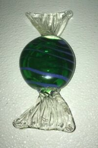 Art-Glass-Paperweight-Candy-Large-Size-Hand-Blown-Green-With-Blue-Stripes-6