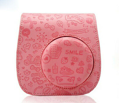NEW FujiFilm Instax MINI 8 Polaroid Camera Protect Leather Case Bag Emboss Pink