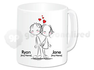 14a427d46 Image is loading Personalised-Love-Mug-Back-to-Back-Couple-Design-