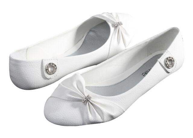 Womens Ballet Flats Rhinestone Bow Leather Shoes Fashion Slip On New, Sizes 6-11