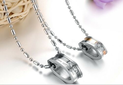 Lover/'s Stainless Steel Love You Till the End Ring Couples Pendant Necklace